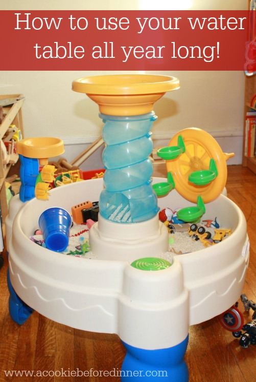 Repurpose your water table and extend the play to year round with this smart idea!