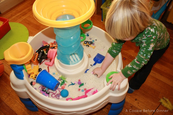 What to do with a water table when it is too cold to play with it outside.