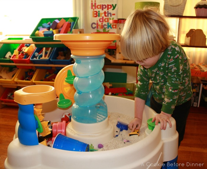 Water table indoors. Water table repurposed for winter.