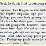 52 Lists- Words that touch your soul.
