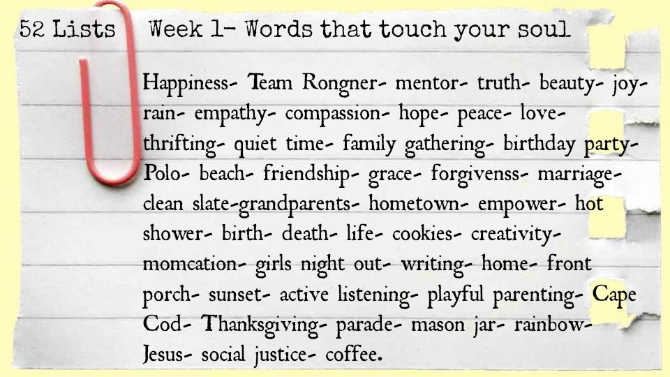 52 Lists Week 1