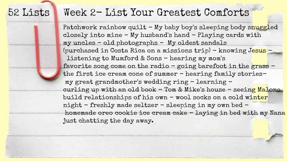52 Lists Week 2