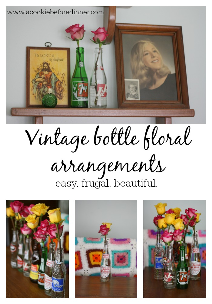 Flowers in vintage bottles.