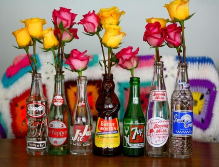 Flowers in Vintage Bottle Floral Arrangment