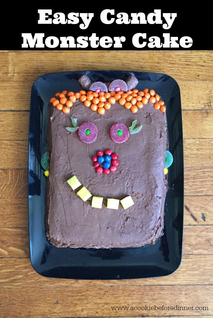 Easy Candy Monster Cake Great Way To Use Leftover Halloween Candy