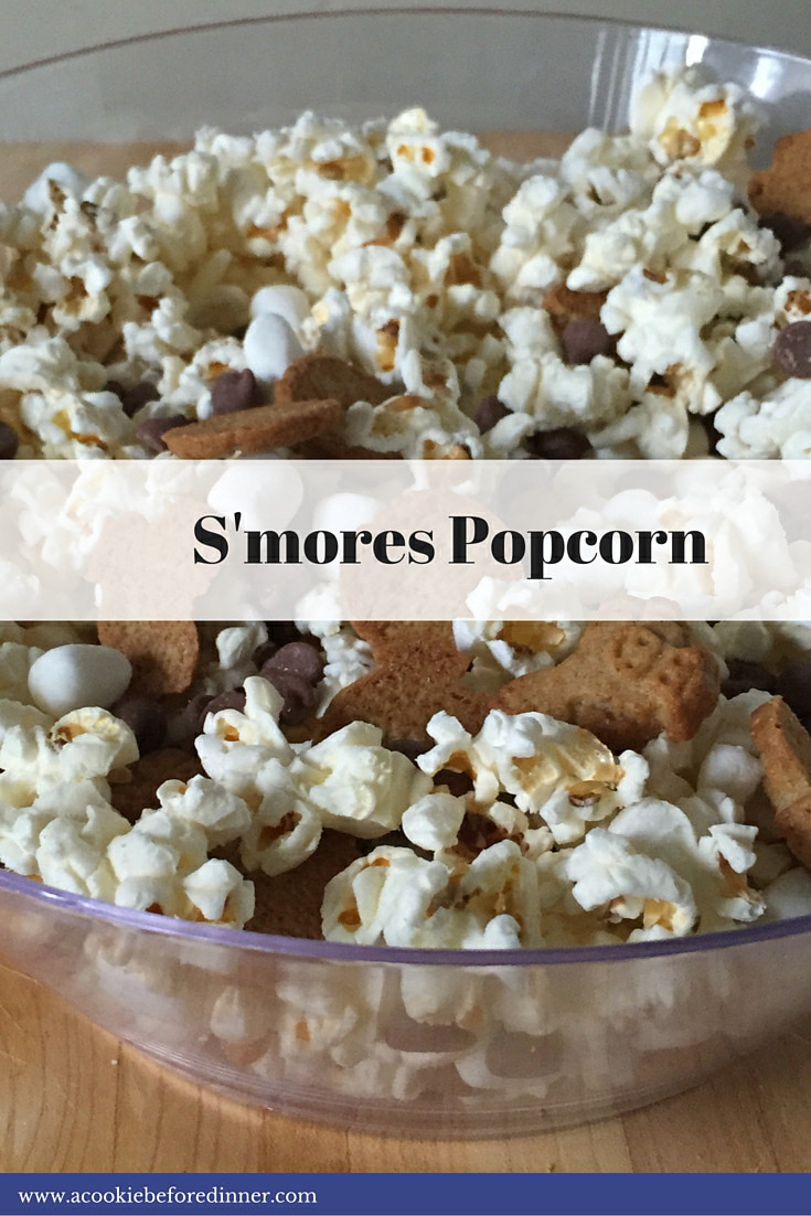 S'mores popcorn is a great for an indoor camping party food!