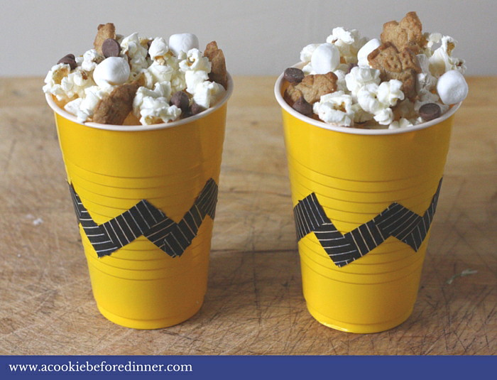 S'mores popcorn in a Charlie Brown Cup