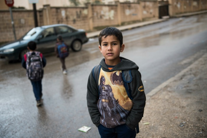 Zaher is eight years old and lives in an apartment with his family in Irbid, Jordan on February 7, 2016. His family left Syria several years ago, not long after the war broke out, but he still remembers and misses his home in Syria. Zaher goes to school i