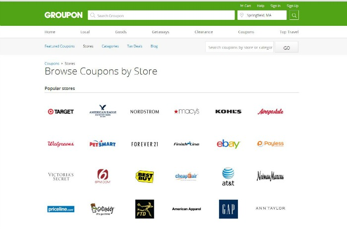 Just a small list of the stores that partner with groupon coupons