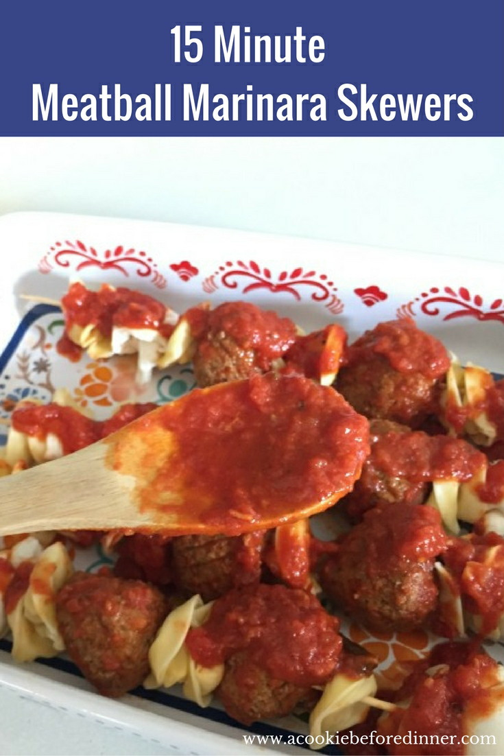 15 Minute Meatball Marinara Skewers. Your family will flip for this easy school night meal!