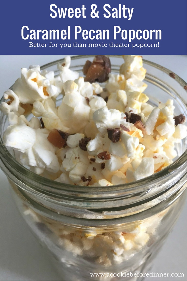 This Weight Watchers Sweet And Salty Caramel Pecan Popcorn is a great healthy switch up! 2 Points Per Serving!