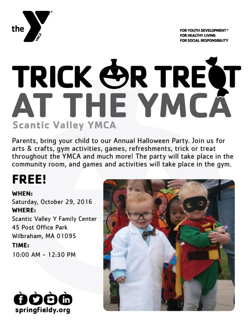 Trick or Treat At the YMCA is just one of the few great Halloween Events for kids in Western MA 2016!