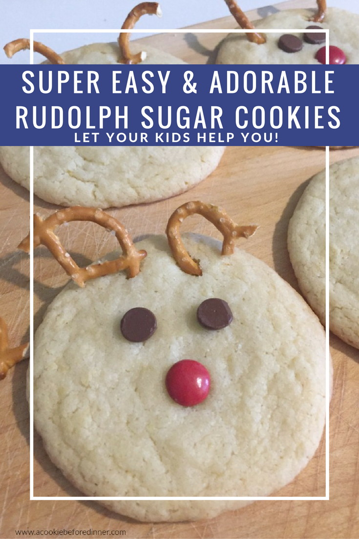 You will love this easy cookie recipe to make with kids. And they'll love making such cute reindeer cookies! My three year old really loved making this kid friendly Rudolph sugar cookie recipe! This would be such an easy cookie swap cookie!