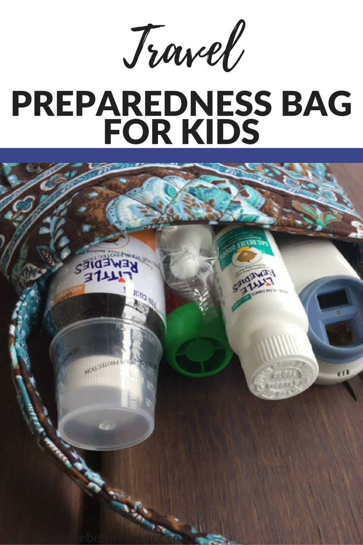 Are you traveling and worried about if your kids might become ill? Make a travel preparedness bag!