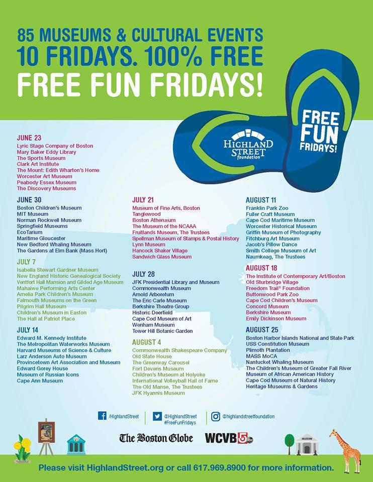 Highland Street Foundation Free Fun Fridays 2017 Schedule