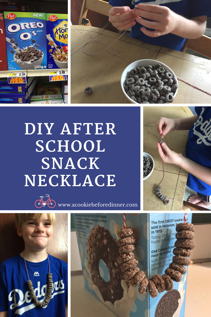 DIY after school snack necklace. Your kids will love this easy after school craft idea with cereal!